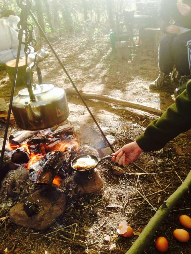 campfire cooking on site