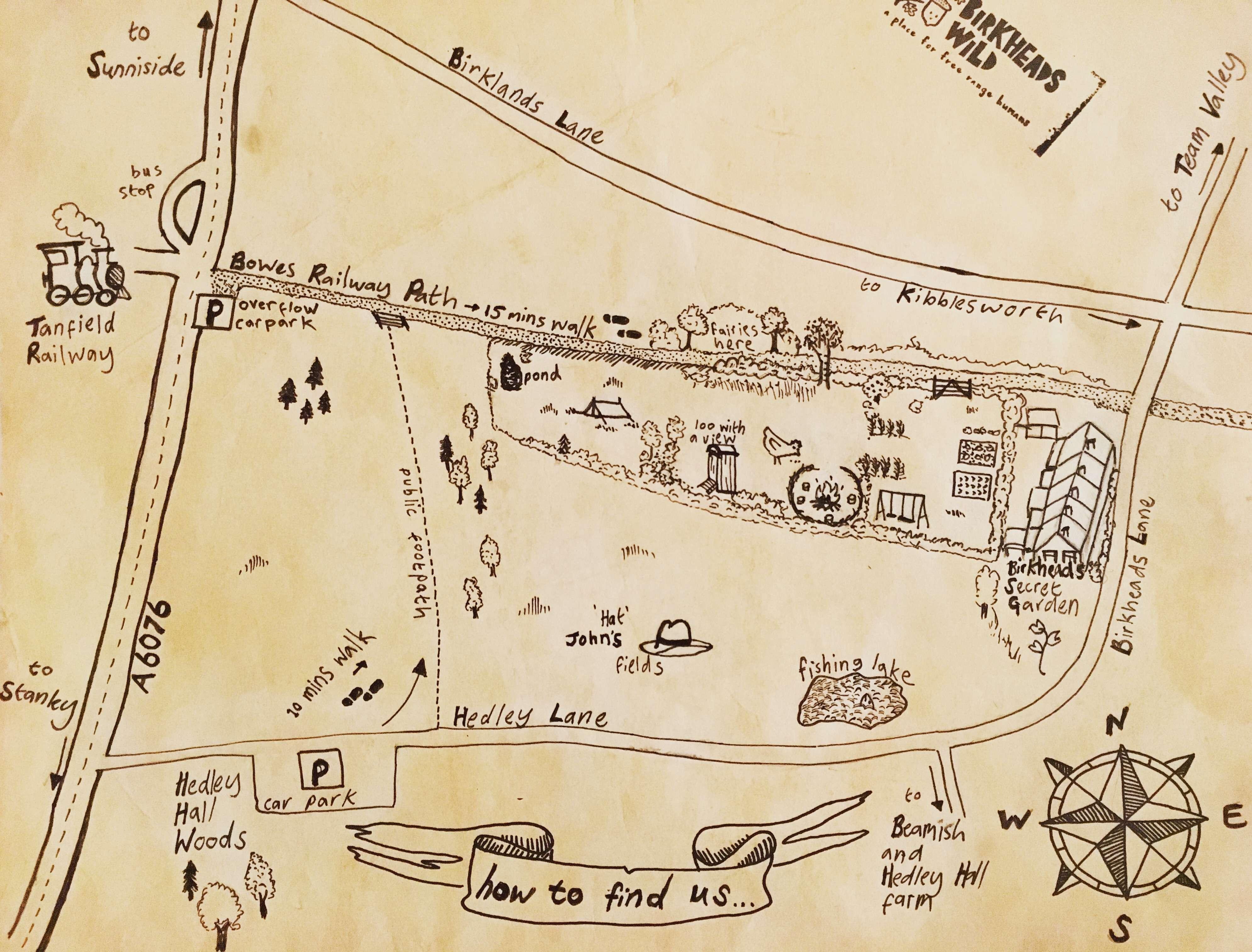 handrawn map Birkheads Wild